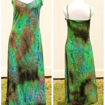 Vintage 80s Velvet Tie Dye Maxi Dress by Express