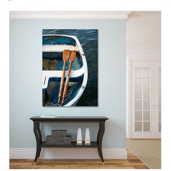 Large Canvas Art, Nautical Wall Decor, Rowboat Oars Photo, Canvas Gallery Wrap, Beach Decor, Coastal Art Print, Teal Blue Navy Beige Brown