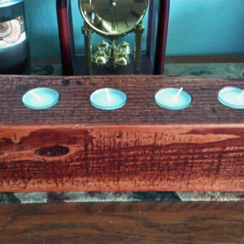 Primitive / Rustic wood 5 tealight / tea light candle holder - made from recycled / reclaimed pallet wood