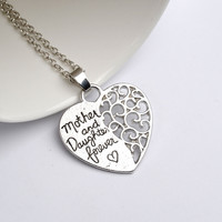Family Jewelry Mother's day gift Letter mother and daugther forever heart pendant necklace best gold Mom