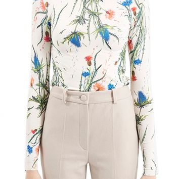 Women's Topshop Unique Floral Print Funnel Neck Top,