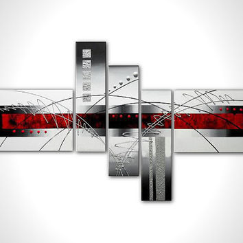 "Modern abstract canvas painting - contemporary artwork - stretched - ready to hang - 56"" in - multi panel wall art deco"