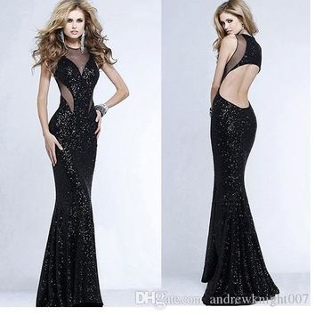 NEW SALE Plus Size Women Sexy Club Black Sequin Mermaid Halter Maxi Dress Splicing Wrapped Chest Backless Prom Formal Party Gown Dresses