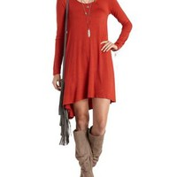 Rust Long Sleeve Swing T-Shirt Dress by Charlotte Russe