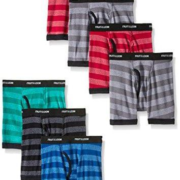 Fruit of the Loom Big Boys' Stripe Boxer Brief , Assorted, Large (Pack of 7)