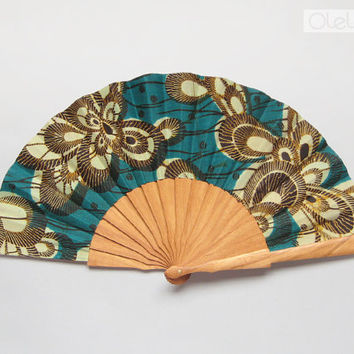 Wax print fan with leather case - Emerald
