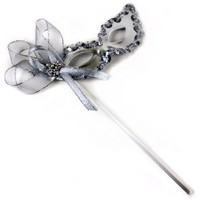 Sylvia Silver Women's Masquerade Mask on a Stick