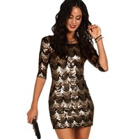 Promo-black And Gold Scalloped Sequin Dress