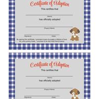 Puppy Birthday Party Certificate of Adoption Forms: INSTANT DOWNLOAD