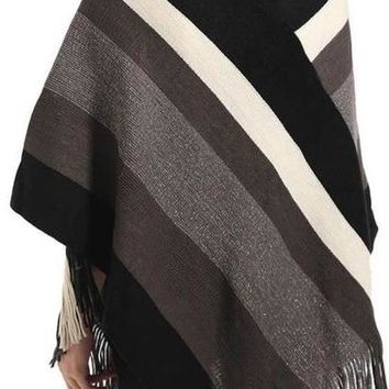 Autumn Winter Cotton Blends Women scarf Knitted shawl Poncho Sexy Striped V neck Irregular Hem Casual Loose Pullover Jumper