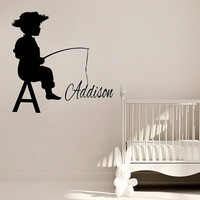 Fishing Wall Decals Custom Boy Personalized Name Vinyl Decal Sticker Home Interior Design Child Kids Nursery Baby Room Bedding Decor KG838