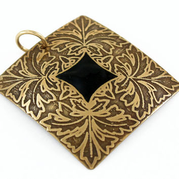 Brass leaf square pendant with black inlay