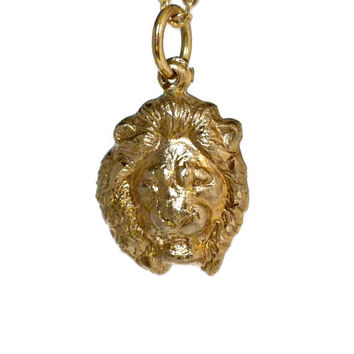 Gold Filled Lion Pendant on Thin Gold Tone Chain - 1/20 12k GF, Lion Necklace, Lion Head Jewelry, Lion Chain Necklace, Dainty Necklace