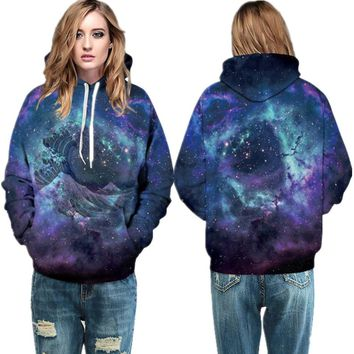 Purple The Great Wave Off Kanagawa Punk Hoodies Navy Galaxy Skateboard Sweatshirts Winter Loose Sport Suits Womens Hoody Jackets