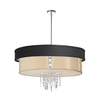 Dainolite 4 Light Polished Chrome Crystal Pendant with Black and Cream Shade with 840 Diffuser