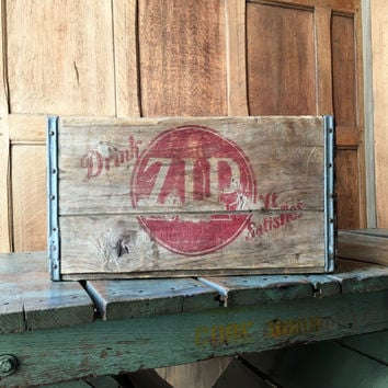 Vintage Wood Crate, Drink Zip It Satisfies Wooden Crate, Minneapolis Minnesota Wood Soda Crate, Vinyl Record Storage