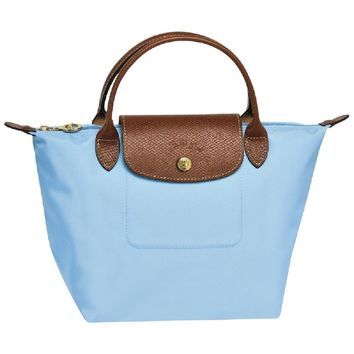 Longchamp Small Le Pliage Nylon Handheld Handbag With Leather Trim, Boy Blue