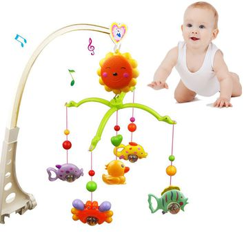 2016 New Music Rattles Bed Bell Lovely Baby Child Mobile Crib Cartoon Toy Box Wind-Up Music Bell Baby Toys for 0-2 Year old Kids