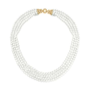 Deco Style Bridal Multi Strand Necklace Collar Pearl Gold Plated