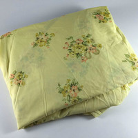 Vintage Flower King Fitted Sheet Retro Yellow Green Peach Floral Fabric Linens Bedding Bedroom Decor