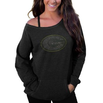 Women's Green Bay Packers Black Sideliner II Crew Sweatshirt