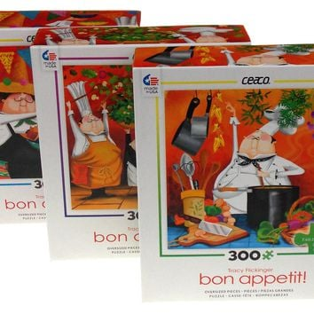 Ceaco Tracy Flickinger Bon Appetit Chef Jigsaw Puzzles 300 Pc 19x19 Set of 3 USA