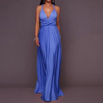 Blue Sashes Draped Tie Back Multi Way Prom Evening Party Maxi Dress