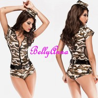 Sexy Ladies Camouflage Police Officer Cop Bodysuit Uniform Halloween Costume+Hat