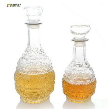 1PC Longming Home 500ml 1000ml Crystal Whiskey Wine Shot Glass Bottle With Cap Stopper Drinking Bar Decanter JR1086
