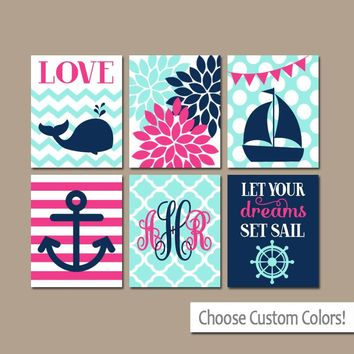 Girl Nautical Wall Art, Girl Nautical Nursery Art Canvas or Prints Whale Sailboat Anchor Decor, Nautical Baby Nursery Decor, Set of 6