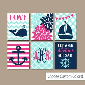 Girl Nautical Wall Art, Girl Nautical Nursery Art, Canvas or Prints, Whale Sailboat Anchor Decor, Nautical Baby Nursery Decor, Set of 6