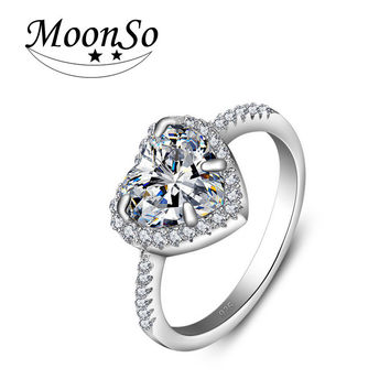 Moonso 925 Sterling Silver Ring Heart Shape Finger anel CZ Diamond for Women Jewelry bijoux Wedding Engagement Moonso R1707