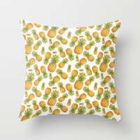 Pineapple Glittering Party Throw Pillow by Octavia Soldani