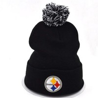 Day-First™ Pittsburgh Steelers Women Men Embroidery Beanies Winter Knit Hat Cap