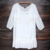 rayon peasant shift dress with lace insets