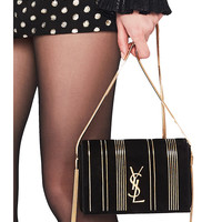 Saint Laurent Small Chain Studded Suede Kate Chain Bag in Black & Gold | FWRD