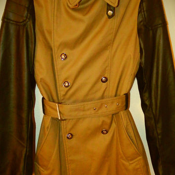 ZARA (Black Tag Collection) Faux Leather Sleeve Trench Coat