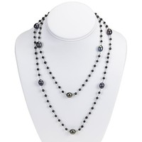 Sterling Silver Black Onyx and Freshwater Pearl Necklace - 40 Inches
