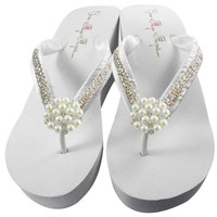 Bridal Flip Flops Wedge Rhinestone Pearl Diamond Bling Satin Jewel Bride Wedding Ribbon  Great for brides, bridesmaids