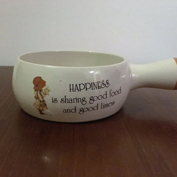"""Vintage 1970s Holly Hobbie Ramekin """"Happiness is Sharing Good Food and Good Times"""" / Retro Soup Bowl / Country Living Korea"""