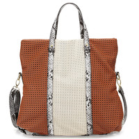 Iris Perforated Fold-Over Faux-Leather Bag, Cognac - Neiman Marcus