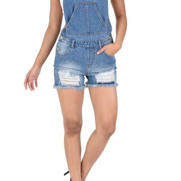Women's Destroyed Boyfriend Short Overalls RJSO857 - KK4B