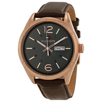 Tommy Hilfiger Grey Dial Brown Leather Mens Watch 1791058