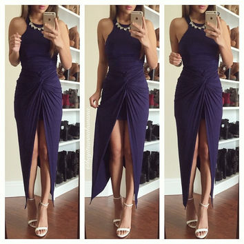 Halter Sleeveless Ruched Bodycon Wrap Maxi Slit Dress