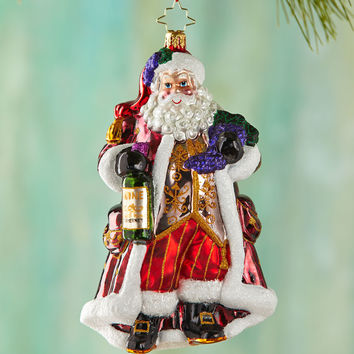 Off The Vine Cabernet Santa Christmas Ornament - Christopher Radko
