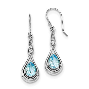 Sterling Silver Blue Topaz Pear and CZ Shepherd Hook Earrings