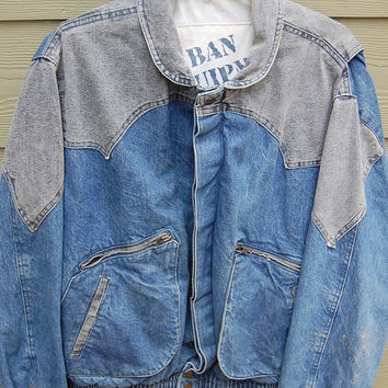 Vintage 80s 90s Urban Equipment by David Peyser Two Tone Stonewash Acid Wash Mens Denim Jean Jacket Size XL