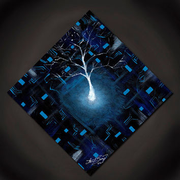 Digital Nature- Original Acrylic Abstract Painting, Blue and Black, White Tree (Painting No. N002)