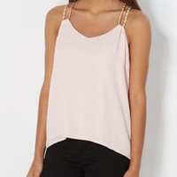 Pink Chain Strapped Chiffon Tank Top | Casual Tank Tops | rue21