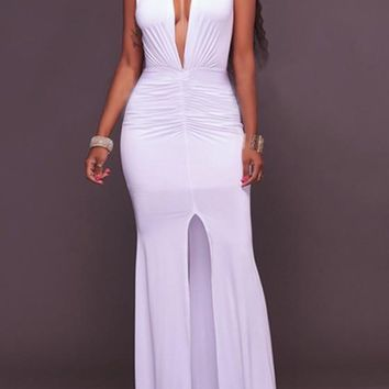 White Draped Slit Deep V-neck Mermaid Ruched Party Prom Maxi Dress